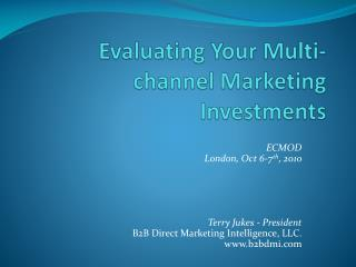 Evaluating Your Multi-channel Marketing Investments