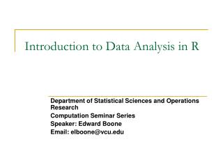 Introduction to Data Analysis in R