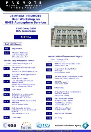 Joint EEA- PROMOTE User Workshop on GMES Atmosphere Services