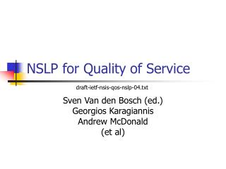 NSLP for Quality of Service