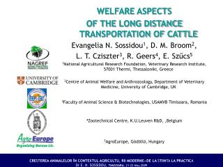 WELFARE ASPECTS  OF THE LONG DISTANCE TRANSPORTATION OF CATTLE