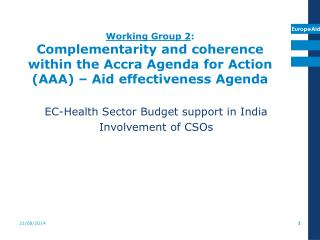EC-Health Sector Budget support in India Involvement of CSOs
