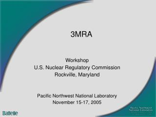 Workshop U.S. Nuclear Regulatory Commission Rockville, Maryland
