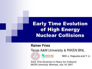 Early Time Evolution of High Energy Nuclear Collisions