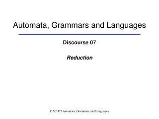 Automata, Grammars and Languages