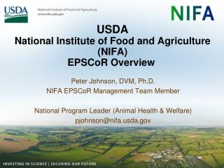 USDA National Institute of Food and Agriculture (NIFA)  EPSCoR Overview