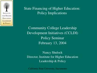 State Financing of Higher Education: Policy Implications