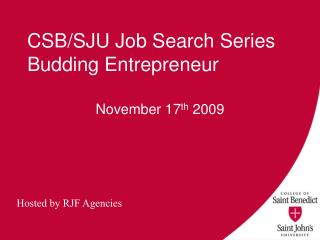CSB/SJU Job Search Series Budding Entrepreneur