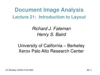 Document Image Analysis Lecture 21:  Introduction to Layout