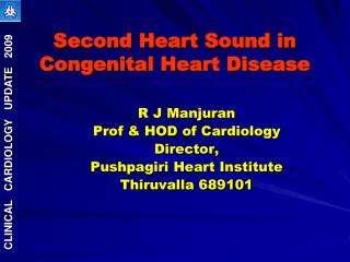 Second Heart Sound in Congenital Heart Disease