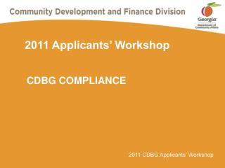 2011 Applicants' Workshop