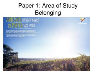 Paper 1: Area of Study Belonging