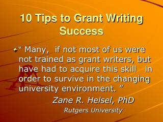 10 Tips to Grant Writing  Success