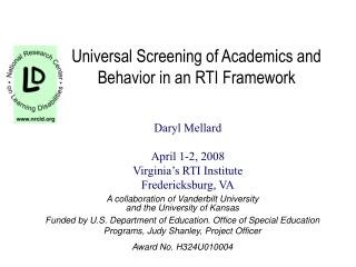Universal Screening of Academics and Behavior in an RTI Framework