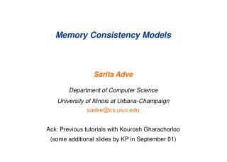 Memory Consistency Models