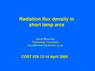 Radiation flux density in short lamp arcs