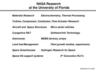 NASA Research  at the University of Florida
