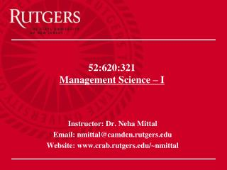 52:620:321 Management Science   I