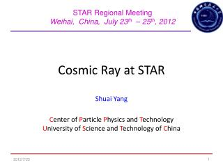 Cosmic Ray at STAR