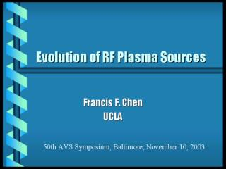 Types of RF plasma sources