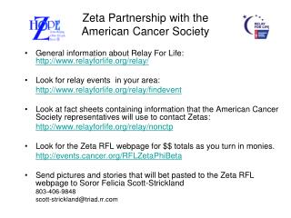 Zeta Partnership with the  American Cancer Society