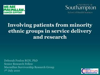 Involving patients from minority ethnic groups in service delivery and research