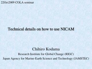 Technical details on how to use NICAM