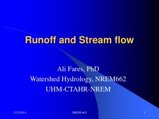 Runoff and Stream flow
