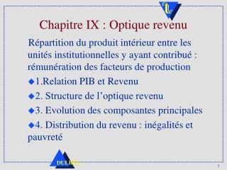 Chapitre IX : Optique revenu