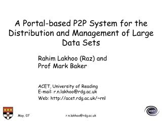 A Portal-based P2P System for the Distribution and Management of Large Data Sets