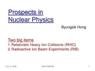 Prospects in  Nuclear Physics