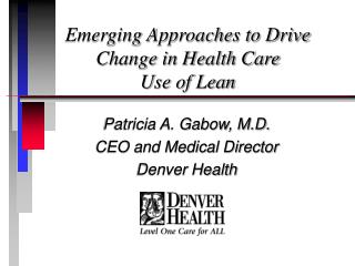 Emerging Approaches to Drive Change in Health Care Use of Lean
