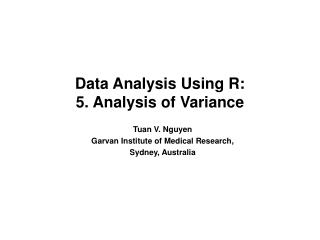 Data Analysis Using R: 5. Analysis of Variance
