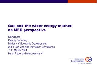Gas and the wider energy market: an MED perspective