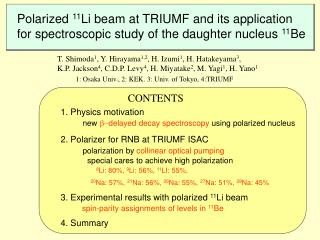 Polarized  11 Li beam at TRIUMF and its application