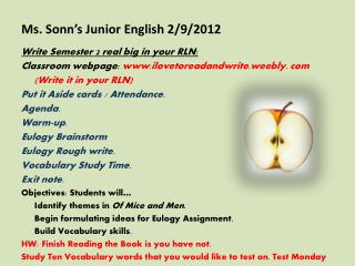 Ms. Sonn�s Junior English 2/9/2012