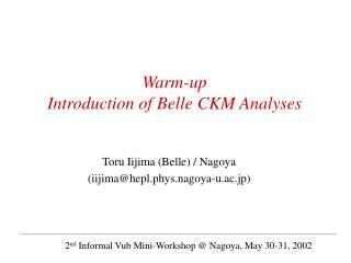 Warm-up Introduction of Belle CKM Analyses