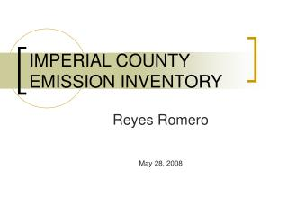 IMPERIAL COUNTY EMISSION INVENTORY