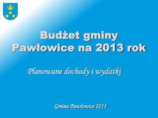 Budżet gminy Pawłowice na 2013 rok