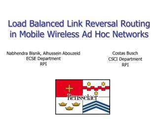 Load Balanced Link Reversal Routing in Mobile Wireless Ad Hoc Networks