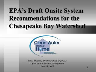 EPA's Draft Onsite System Recommendations for the Chesapeake Bay Watershed