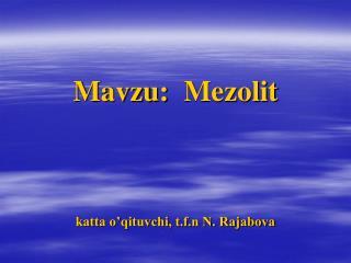 Mavzu:   Mezolit katta o'qituvchi, t.f.n N. Rajabova