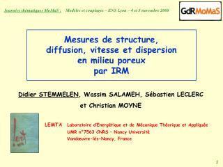 Mesures de structure, diffusion, vitesse et dispersion  en milieu poreux  par IRM