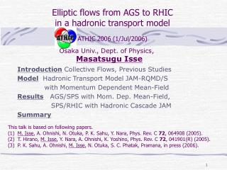 Elliptic flows from AGS to RHIC  in a hadronic transport model ATHIC 2006 (1/Jul/2006)