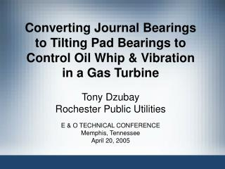 Tony Dzubay Rochester Public Utilities E & O TECHNICAL CONFERENCE Memphis, Tennessee