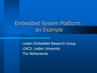 Embedded System Platform:  an Example