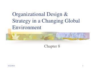Organizational Design  Strategy in a Changing Global Environment