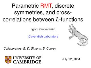 Parametric  RMT , discrete symmetries, and cross-correlations between  L -functions