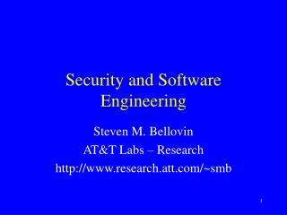 Security and Software Engineering