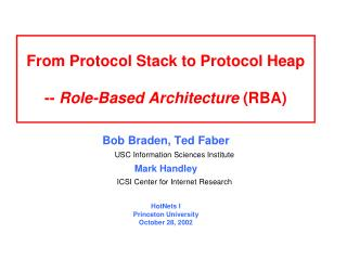 From Protocol Stack to Protocol Heap -- Role-Based Architecture  (RBA)